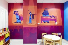 One of a series of murals by children's book illustrator Chris Haughton for the Royal London Children's Hospital, commissioned by Vital Arts. Haughton has also created rugs and paintings for the space, featuring lions, monkeys and a range of colourful creatures