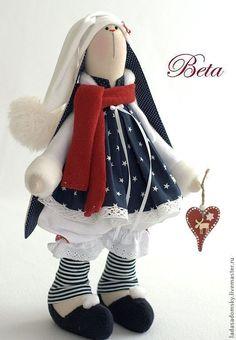 Зайка Beta - рождественский эльф ! 39 см - тёмно-синий,новый год 2014: