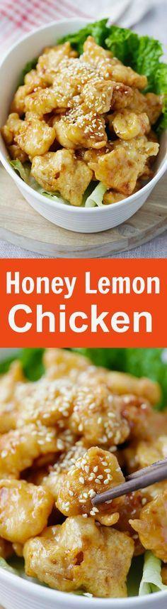 Honey Lemon Chicken – crispy chicken with AMAZING honey lemon sauce. Quick and easy recipe that anyone can make at home | http://rasamalaysia.com