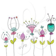 Doodle Flower Clip Art Set