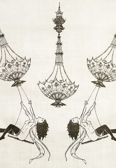 Erotica Linen Fabric Cream linen fabric with illustrated, horizontally repeating design of swinging nude from chandelier and masquerade in elegant black print. Suitable for soft furnishings and light domestic upholstery.