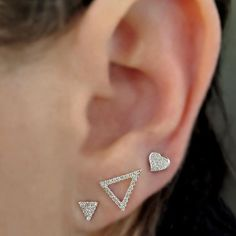 """Perfectly Paired for Pinning"" Triangles and Heart in White Gold and Diamonds from The Ear Stylist by Jo Nayor. www.EarStylist.com"