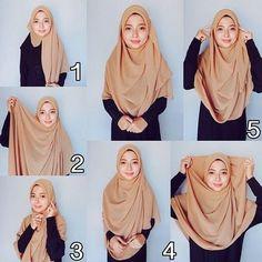 Simple Hijab Style for School and College Square Hijab Tutorial, Simple Hijab Tutorial, Hijab Style Tutorial, Hijab Style Dress, Casual Hijab Outfit, Stylish Hijab, Hijab Chic, Hijab Niqab, Beau Hijab