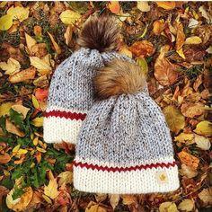 Knitting Pattern INFANT & KIDS Size Bundle Double Brim Hiker | Etsy Crochet Beanie Pattern, Knit Crochet, Faux Fur Pom Pom, Circular Knitting Needles, Red Stripes, Yarn Crafts, Knitted Hats, Knitting Patterns, Winter Hats