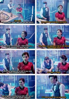 Clara: Now you're creeping me out...//  The Doctor: Take a wheel. Not the wheel. I'll make it easy. Shut it down to basic mode for you...//  Clara: Basic? 'Cause I'm a girl?...// The Doctor: No! {snickers behind her back}