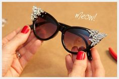 71f0d3fb4b45 DIY Rhinestone Sunglasses .superglue thrifted earrings brooches Ray Ban  Sunglasses Sale