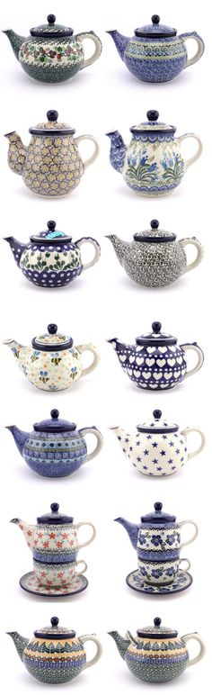 Love teapots from Boleslawiec! Diy Inspiration, Teapots And Cups, How To Make Tea, Polish Pottery, Chocolate Pots, Ceramic Painting, Vintage Tea, Tea Time, Tea Party
