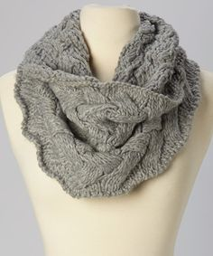 Take a look at this Gray Braided Knit Infinity Scarf on zulily today!