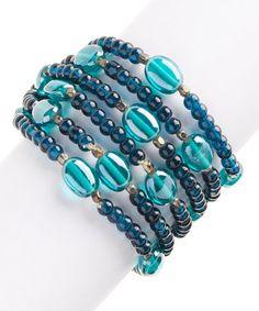 Loving this Teal Glass Bead Bracelet Set on #zulily! #zulilyfinds