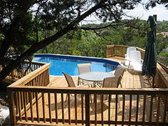 Idea for deck around above ground oval pool. Summer Oval Above Ground Pool - San Antonio, TX Oval Above Ground Pools, Above Ground Swimming Pools, In Ground Pools, Swimming Pool Decks, My Pool, Pool Spa, Pool Deck Plans, Oval Pool, Pool Companies