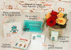 The Funny Robot - un pachet creat special pentru botezuri colorate si amuzante. Roboteii nu-s numai foarte simpatici, sunt si extrem de isteti si ii vor captiva pe oaspetii vostri. Elementele acestui set - invitatia de botez, numerele de masa, place cardurile, meniurile, mesajele pentru bebelus si marturiile - au un design in culori captivante si desene vesele. Creative, Cover