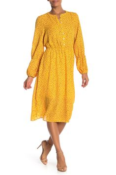 Floral Blouson Sleeve Midi Dress by Bobeau on Midi Dress With Sleeves, Nordstrom Dresses, Nordstrom Rack, Floral Prints, Product Launch, Feminine, Stylish, Sweaters, Beautiful