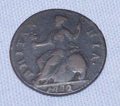 Genuine - Rare - British -  King George III - Half Penny   - Coin  -  c1772 Rare British Coins, Penny Coin, Metal Detecting, King George, Antiques, Vintage, Coins, Antiquities, Antique