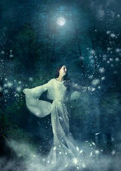 Each time she danced under a full moon, sparks alighted from her spirit... (Stardancing by Angie Latham)