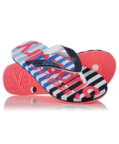 Superdry women's Eva Stripe Flip Flops. A classic thong style flip flop in a striped design with imprinted contrast colour Superdry logo on the wetsuit material style sole. The upper straps are textured and feature Superdry printed logos. Superdry Style, Surf Wear, Womens Flip Flops, Shoe Sale, Dark Navy, Shoe Boots, Baby Shoes, San Miguel