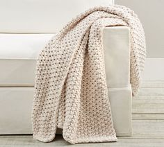 A lovely layer to cozy up with, our pure cotton throw also makes a stylish textural statement, whether draped over the arm of a sofa or folded at the foot of a bed. Mohair Throw, Chunky Knit Throw, Knitted Throws, Cotton Throws, Seed Stitch, Thick Yarn, Thrown Pottery, Normal Wear And Tear, Knit Patterns