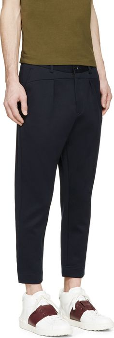 Undecorated Man Navy Neoprene Slash Trousers