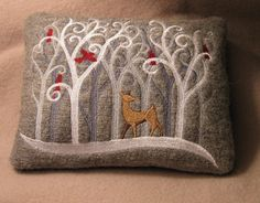 Snowy Winter Season Forest Scene Deer Cardinals Redbirds January New Year Felted Gray Wool Embroidered Wee Miniature Pillow. $20.00, via Etsy.