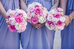 Feminine bouquets with ivory hydrangeas and pink rose varieties perfectly complement the lavender bridesmaid dresses. Huckleberry Karen Designs.