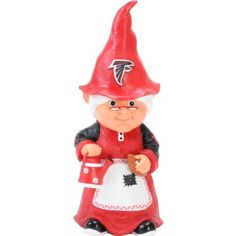Atlanta Falcons Female Garden Gnome by Hall of Fame Memorabilia. $24.95. Great for the garden or inside. Hand painted. Raised team logos. Resin. 11 inches tall. Show off your team pride in your garden or around the house with this 11 inch garden gnome. Gnomes are perfect for the garden, patio, desk, shelf or doorway. Each gnome is hand crafted and hand painted with raised team logos on the hat.