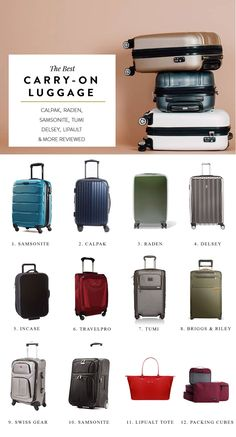 carry on bag, carry on packing list, carry on luggage, best carry on, best carry… Calpak Luggage, Best Carry On Luggage, Carry On Packing, Packing Tips For Travel, Travel Essentials, Samsonite Luggage, Travel Goals, Best Carry On Bag, Europe Packing Lists