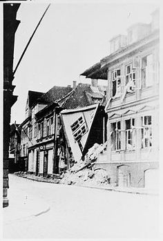 Bombetreff i Bergen.  1940-1945 Riksarkivet / NTBs krigsarkiv
