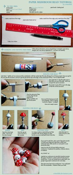 Paper mushroom beads tutorial - all you need is paper, a gluestick and red and white nail polish!