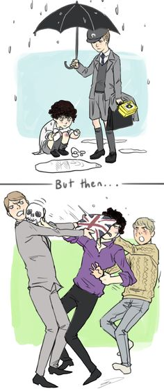 Mycroft and Sherlock - by Reapersun. once brothers, always brothers. You can't get out of it