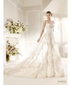 A Line Lace Strap Sweetheart  Court Train Wedding Dresses