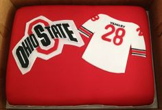 Ohio State Logo and Football Jersey Cake by www.dkscakes.com