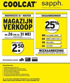 Magazijnverkoop  CoolCat en Sapph -- Houten -- 26/05-31/05