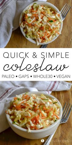 Quick & Simple Coleslaw :: paleo, GAPS, and vegan Looking for an easy and healthy side dish for your summer meals? Look no farther than this paleo, GAPS, and vegan Quick & Simple Coleslaw! Paleo Side Dishes, Gluten Free Sides Dishes, Side Dishes Easy, Side Dish Recipes, Whole Foods Vegan, Easy Healthy Recipes, Paleo Recipes, Real Food Recipes, Chef Recipes