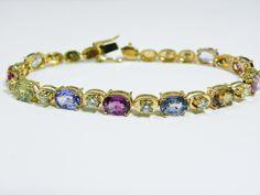 16 00cts No Heat Sapphire Diamond Tennis Bracelet 18K Yellow Gold | eBay