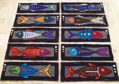 Finest Fishes Set of 12 hooked stair treads Made by theoldloft