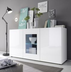 sideboard h ngend wei hochglanz 2 t ren 2 schubladen sieglinde pinterest sideboard. Black Bedroom Furniture Sets. Home Design Ideas