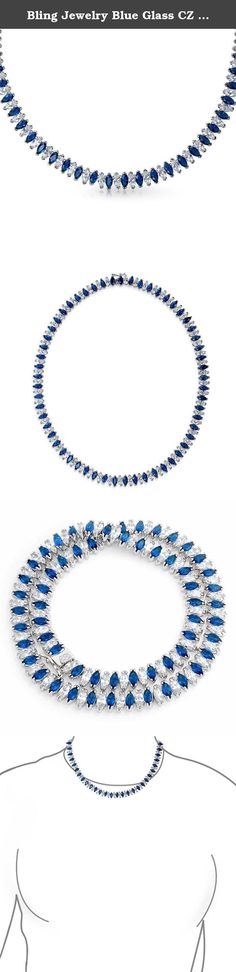 Bling Jewelry Blue Glass CZ Marquise Tennis Necklace. Feel like a true princess on your wedding day and every day you wear our elegant and exquisite Simulated Sapphire bridal necklace. A cubic zirconia tennis necklace is a sensational way to add a pop of color to your white dress. This stunning cubic zirconia tennis necklace is made of alternating clear cubic zirconia stones and blue glass marquise shapes, for a lovely design and style that is classic and beautiful. If you are a blue eyed...