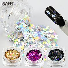 Buy SWEET TREND 1 Bottle 3D Nail Art Glitter Colorful Laser Butterfly Sequins Slice Tips Nail Decoration DIY Manicure Tools HD01-05 at JacLauren.com