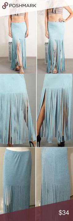 """Faux Suede Fringe Maxi Skirt NWOT. Sassy figure flattering knit maxi skirt in faux suede finish. Easy banded waist line and flirty fringed bottom. 92% rayon, 8% spandex. Approximate length: 32"""". Made with love in the USA.  Skirts Maxi"""