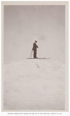 Fridjof Nansen with camera on sea ice in the Kara Sea, August, 18, 1913. #RogersWinterWhites