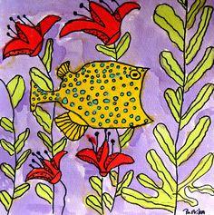 Fish, watercolor, 7 year old child with artist Britta Johanson