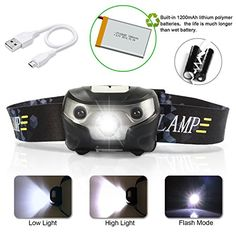 USB Rechargeable LED Headlamp Flashlight With 3 Modes Induction switchSuper BrightWaterproofImpact ResistantLightWeightComfortableRunningWalkingCamping Reading Hiking  More Cable Included *** More info could be found at the image url. (Note:Amazon affiliate link)