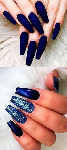 Fancy navy blue matte coffin nails and dark blue coffin nails with glitter ideas. - Fancy navy blue matte coffin nails and dark blue coffin nails with glitter ideas - Navy Blue Nails, Blue Glitter Nails, Coffin Nails Matte, Long Acrylic Nails, Black And Blue Nails, Blue Matte Nails, Nail Art Blue, Dark Gel Nails, Dark Color Nails