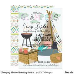 Glamping Themed Birthday Invitation Camping Party Invitations, Birthday Invitations Kids, Zazzle Invitations, Birthday Cards, Birthday Gifts, 12th Birthday, Birthday Diy, Invitation Cards, Birthday Ideas