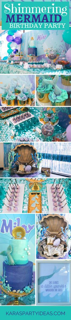 Shimmering Mermaid Birthday Party Shimmering Mermaid Birthday Party via Kara's Party Ideas [br] Little Mermaid Birthday, Little Mermaid Parties, Girl Birthday, Surprise Birthday, Cumpleaños Diy, 6th Birthday Parties, Birthday Ideas, Themed Parties, Mermaid Party Decorations