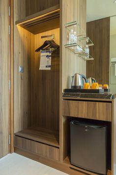 Αποτέλεσμα εικόνας για desk built into wardrobe with fridge hotel