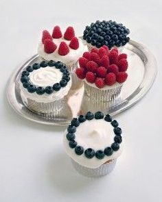 They may not sparkle or explode, but these cupcakes are just the thing for your Fourth of July celebration. Bake cupcakes in foil cups, spread them generously with white frosting, and decorate with fresh blueberries and raspberries.