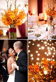 Love the lighting and centerpiece on table. Not top left with yellow flowers though