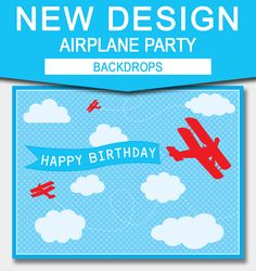Printable Large Airplane Party Backdrops | Instant Download template