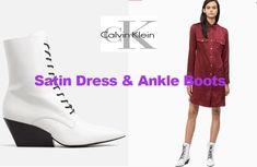 Satin dress and ankle boots from Calvin Klein Ankle Boots Dress, Teen Fashion, Womens Fashion, Satin Shirt, Calvin Klein Collection, Fashion Seasons, Satin Dresses, Fashion Advice, Dress Collection