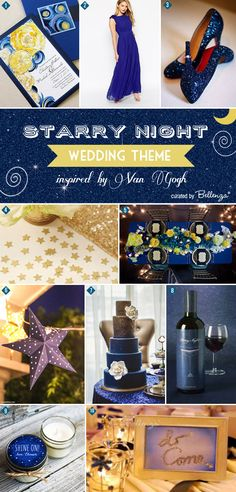Romantic and mesmerizing! Starry Night by Van Gogh wedding inspiration board of ideas | www.bellenza.com